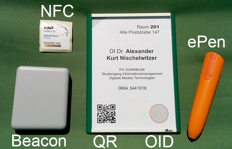 Interaktives Türschild mit NFC, OID und QR